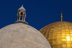 Dome of the Rock, Jerusalem. Exterior view of the Dome of the Rock Al Qubbet As-Sahra in Arabic in the holy site of the Old City in Jerusalem, Israel royalty free stock images