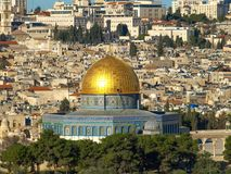 Dome of the Rock. In Jerusalem, Israel. View from the Mount of Olives stock images