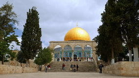 Dome of the Rock in Jerusalem over Temple Mount stock footage