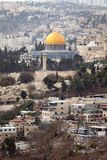 Dome of the Rock Jerusalem. Scenic view of the historic, Islamic Shrine of Dome of the Rock Jerusalem cityscape on the Temple Mount Stock Photo