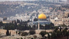 Dome of the Rock Jerusalem. Scenic view of the historic, Islamic Shrine of Dome of the Rock Jerusalem cityscape on the Temple Mount royalty free stock photos