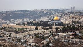 Dome of the Rock Jerusalem. Scenic view of the historic, Islamic Shrine of Dome of the Rock Jerusalem cityscape on the Temple Mount Royalty Free Stock Photography