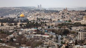Dome of the Rock Jerusalem. Scenic view of the historic, Islamic Shrine of Dome of the Rock Jerusalem cityscape on the Temple Mount stock photos