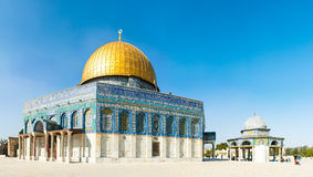 Dome of the Rock. Located on top of the Temple Mount in the Jerusalem's Old City, the Dome of the Rock is one of the oldest works of Islamic architecture stock image