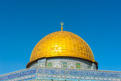Dome of the Rock. Located on top of the Temple Mount in the Jerusalems Old City, the Dome of the Rock is one of the oldest works of Islamic architecture royalty free stock photo
