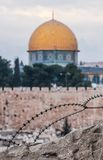 Dome of the Rock with barbed wire Stock Photo