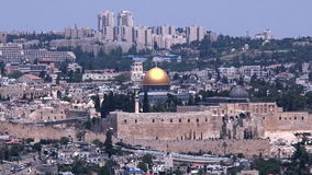 Dome of the Rock Mosque on Temple Mount in Jerusalem old city, Israel. stock video footage