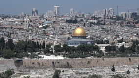 Dome of the Rock Mosque on Temple Mount with Jerusalem old cityskyline stock video footage
