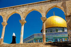 Dome of the Rock. Muslim woman at the Dome of the Rock royalty free stock image
