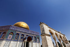 Dome of the Rock. The Dome Of The Rock in the old city of Jerusalem, one of the holiest places to the Islam, from a low and wide angle view, with one of the Royalty Free Stock Photography