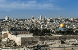 Dome of the rock and the old city walls Stock Image