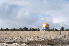 Dome of the Rock and Old Jerusalem wall stock photography