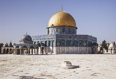 The Dome Of The Rock. Is a shrine located on the Temple Mount in the Old City of Jerusalem. The site's significance stems from religious traditions regarding Royalty Free Stock Photos
