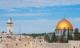 Dome of the Rock and Silsilah Minaret Royalty Free Stock Images