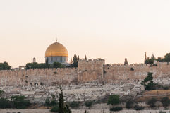 Dome of the Rock skyline. Dome of the Rock outised of Jerusalem Old City wall, Israel Royalty Free Stock Photos