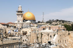 The Dome of the Rock on the Temple Mount in Jerusalem. The Dome of the Rock seen from the Jewish Quarter of Jerusalem's Old City Stock Image