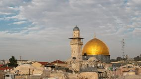 Dome of The Rock on the Temple Mount in the Old City of Jerusalem, Time lapse. Dome of The rock is an Islamic shrine located on the Temple Mount in the Old City stock video
