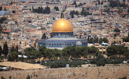 Dome of the Rock on the Temple Mount. View of the Dome of the Rock on the Temple Mount in Jerusalem, Israel, from the Church of the Dominus Flevit on the Mount Royalty Free Stock Images