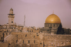 The Dome of the Rock on the temple mount, and the western wall i Royalty Free Stock Photo