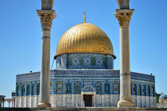 The Dome of the Rock and two columns Stock Photography