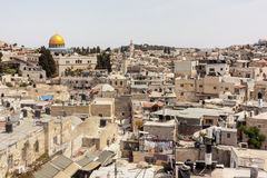 Dome on the Rock. A view of the Dome on the Rock mosque in Jerusalem from the roof-tops of the Arab quarter in the Old City Royalty Free Stock Image