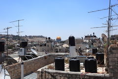 Dome of the Rock & Water Tanks on Roofs stock image