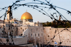 Dome of the Rock, Western Wall and Barbed Wire Stock Photo