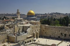 Dome of the Rock and Western Wall Royalty Free Stock Photography