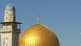 Dome of the Rock and Western Wall in Jerusalem stock video footage
