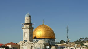 Dome of the Rock and Western Wall in Jerusalem stock footage