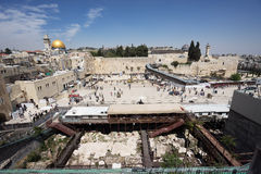 Dome of the Rock and Western Wall in Jerusalem Royalty Free Stock Photo