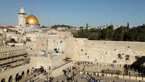 Dome of the Rock and the Western Wall in Jerusalem stock video