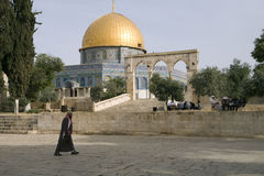 Dome Rock Woman Walking. An Arab woman walks near the Dome of the Rock on Temple Mount in Jerusalem Stock Photography