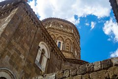 Dome of the romanesque cathedral of Casertavecchia stock photography