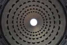 Dome of Rome Pantheon with oculus in center. Dome of the ancient Roman Pantheon with the oculus perfectly centered stock image