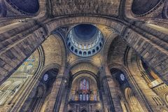 Interior ceiling of the sacred heart basilica in Paris royalty free stock photo