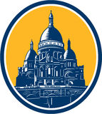 Dome of Sacre Coeur Basilica Paris Retro Royalty Free Stock Image