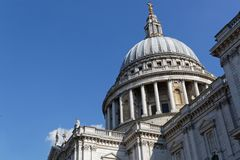 Dome of Saint Paul Cathedral. In London city center Stock Photos