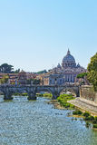 Dome of Saint Peter Basilica and Ponte Sant Angelo Bridge Royalty Free Stock Photo