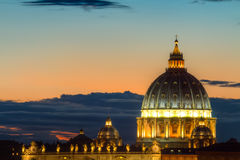 Dome of Saint Peter at twilight Stock Image