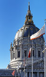 Dome of San Francisco City Hall. Exterior view of San Francisco City Hall dome with flags Stock Photography