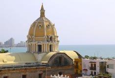 Dome of San Pedro church in the center of Cartagena Stock Photos