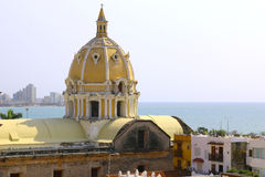 Dome of San Pedro church in the center of Cartagena Royalty Free Stock Photo
