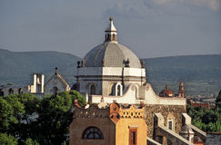 Dome of San Sebastian. In the background dome and tower of the church of Santiago in the city of Queretaro, Mexico stock photography
