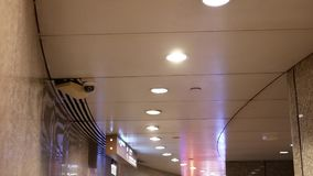 Dome security camera on top of ceiling inside mall. In Taipei Taiwan stock video footage