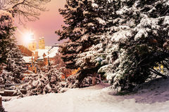 Dome seen from snowy City Park at sunrise Royalty Free Stock Photos