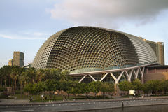 Dome-shaped Esplanade Theater in Singapore. Nicknamed Durian by Singaporeans because of its spikey twin domes.  Esplanade on the Bay is an international center Stock Photos