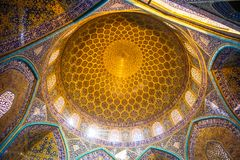 Dome of Sheikh Lotfollah Mosque in Isfahan - Iran. View on dome of Sheikh Lotfollah Mosque in Isfahan - Iran stock photo