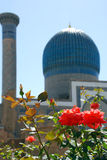 Dome of the Sher-Dor with flowers stock photography
