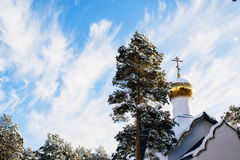 The dome is a small Orthodox chapel on the background of winter sky Royalty Free Stock Images